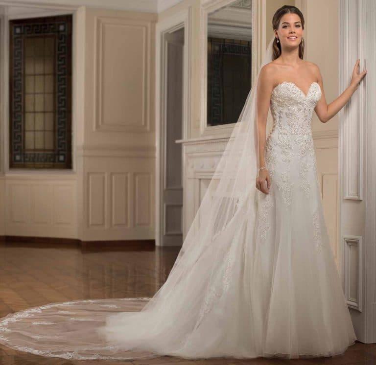 Tüllös, A-vonalú Cosmobella menyasszonyi ruha