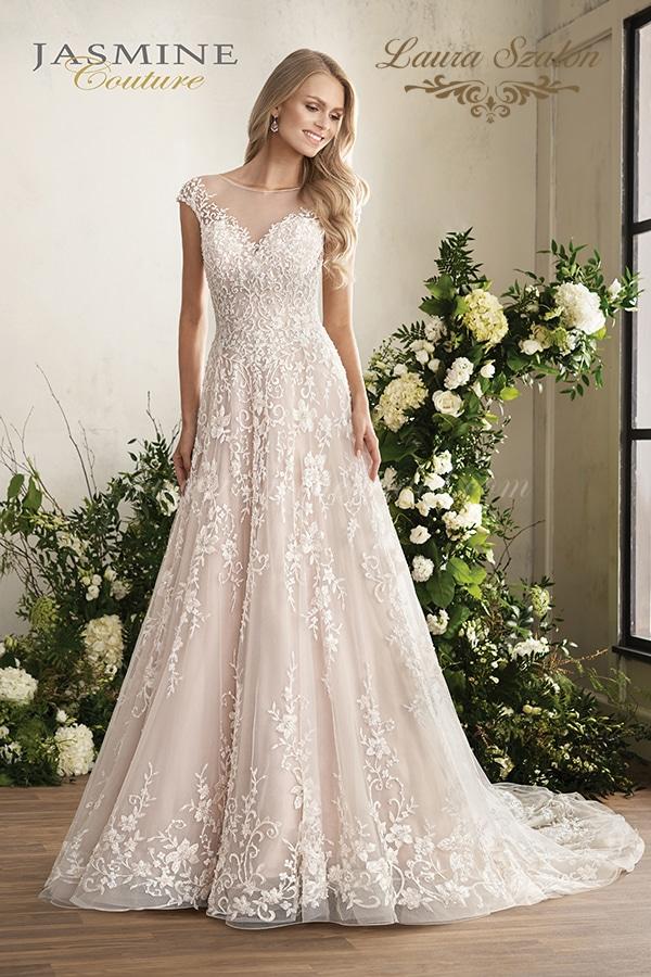 Gyönyörű Jasmine Couture menyasszonyi ruha.