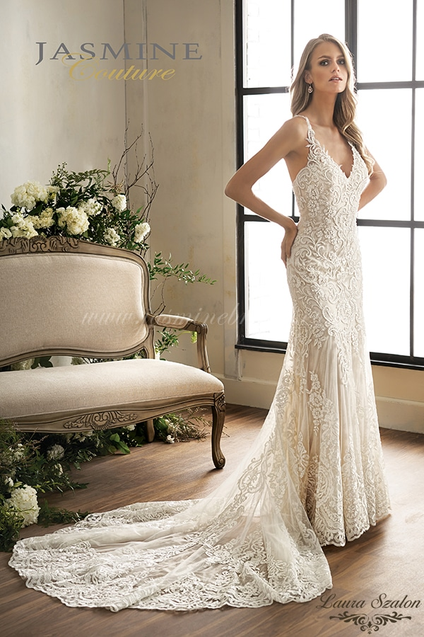 Csipke díszítésű Jasmine Couture menyasszonyi ruha.