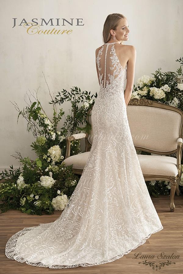 Sellő fazonú, hátul díszített Jasmine Couture menyasszonyi ruha.