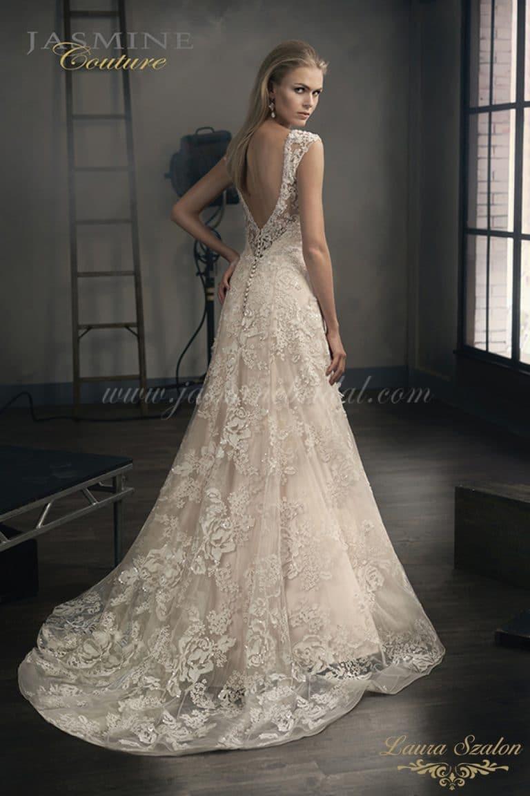 Klasszikus sítulsú Jasmine Couture menyasszonyi ruha.