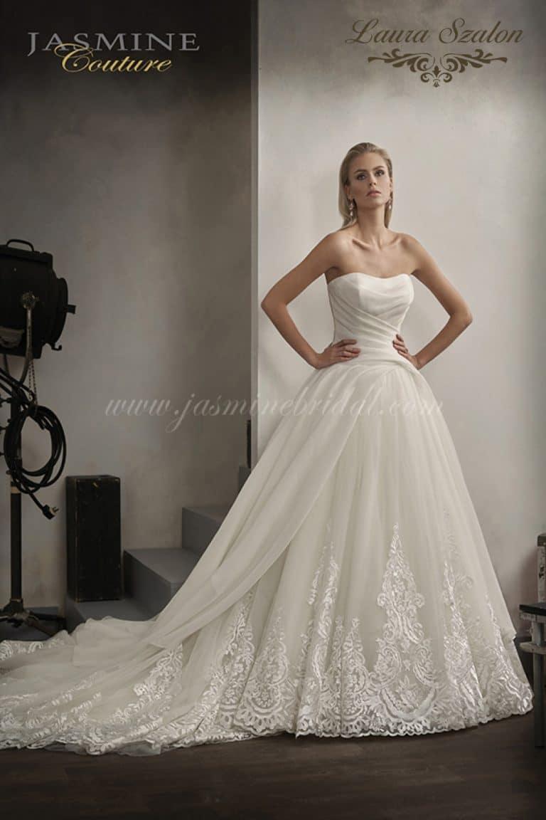 Pánt nélküli, abroncsos Jasmine Couture menyasszonyi ruha.